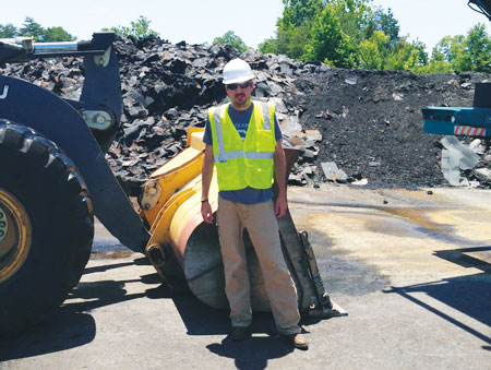 Sharpe Bros. runs an asphalt shingle recycling operation in Greensboro, NC, managed by Nick Mulls.